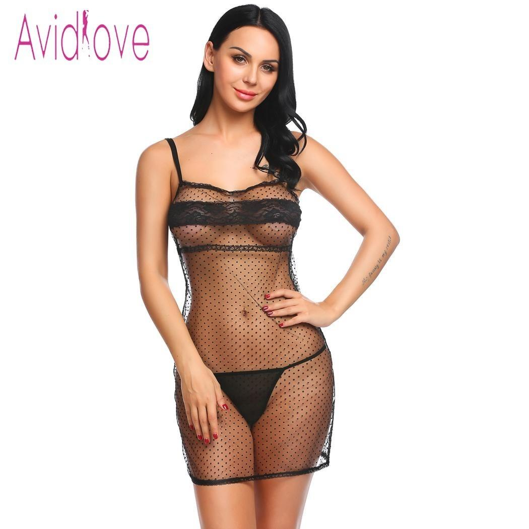 Avidlove Sexy Lace Babydoll Dress Women Strap Mesh Dot Transparent Lingerie Erotic Hot Sex Mini Sleepwear Exotic Clothes Y19070302