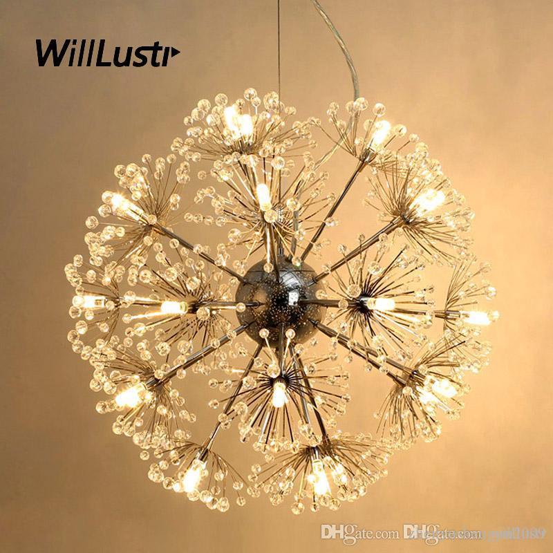 K9 크리스탈 LED 펜던트 램프 럭셔리 민들레 서스펜션 라이트 호텔 레스토랑 몰 거실 침실 꽃 매달려 조명