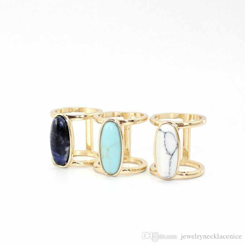 Mode Blanc Bleu Turquoise Bague pour femmes Bijoux en or pierre naturelle géométrie ovale Kallaite Howlite Anneau Noir