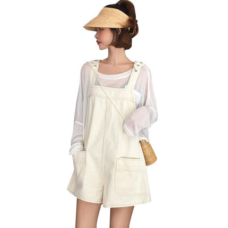 Denim Salopette Shorts Hot Summer 2019 Nouvelle-coréen sangle jambe large Pantalon Femme en vrac droite taille haute Jeans Shorts f683