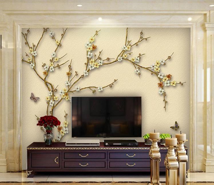 3D Fondos de magnolia flores y pájaros pincelada fondo pintado a mano mural de la sala de TV de pared Pared decoración del hogar