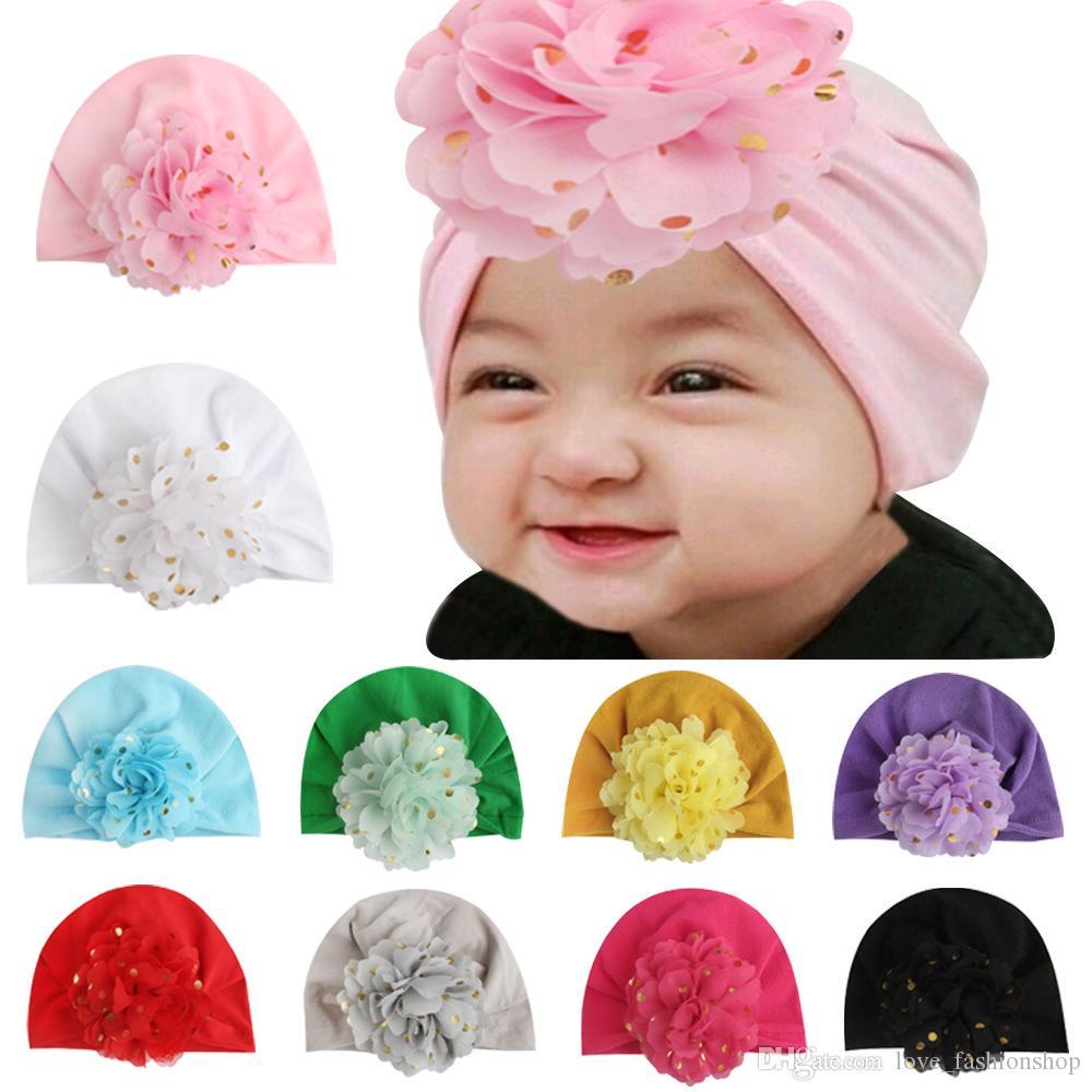 çocuklar tasarımcı şapkalar Bebek toddle çiçek pamuk kapaklar sevimli prenses şapka kız bebek saç aksesuarları çocukların erkek kız kap bandanalar saç bantlarında