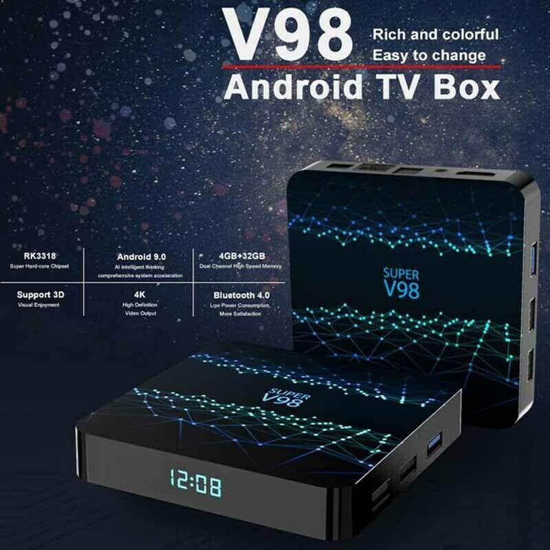 الروبوت التلفزيون مربع سوبر V98 ROCKCHIP 3318 رباعية النواة 4K الذكية التلفزيون صندوق 2 + 16/4 + 32GB مع tx6 واي فاي BT4.0 تدفق وسائل الاعلام لاعب