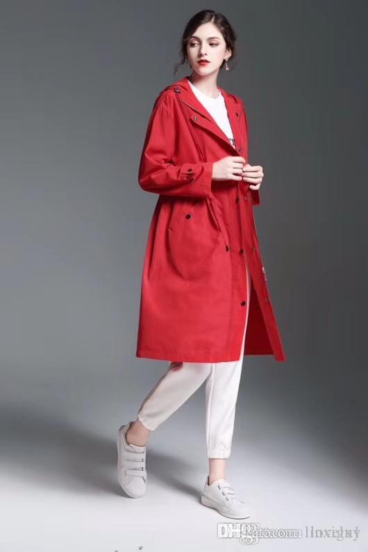 Women's Ladies long section trench coat loose hooded windbreaker zipper waist drawstring waterproof ladies outerwear 2019 new U1C1CDJKFAOJ