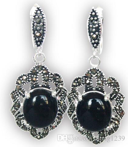 "Giada naturale nera naturale, gemme e orecchini in argento 925 11/2 """