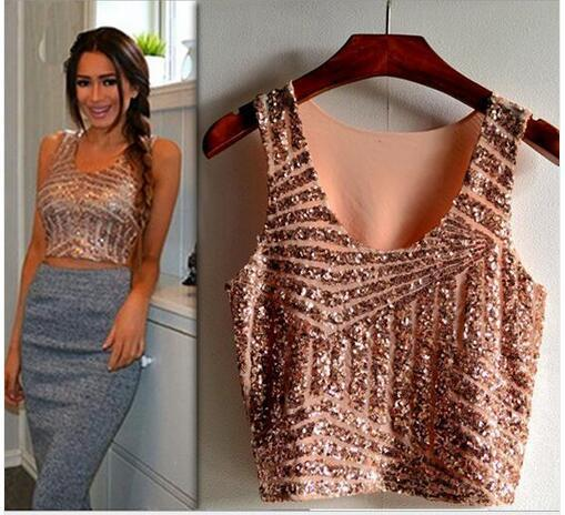 Summer Black White Gold Pink Sparkly Women Crop Top Tank Sexy Lady Girls Sequin Lace Bustier Crop Top