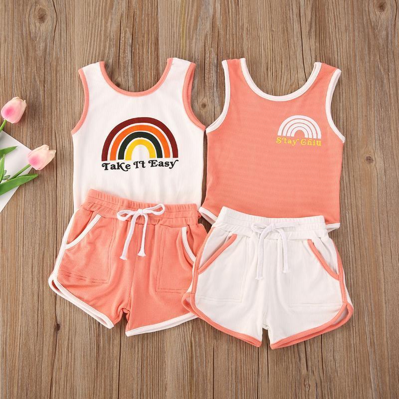 Летняя мода для младенцев мальчиков Одежда для девочек Набор малышей Infant Симпатичные Ситца Полосатый Bodysuits + шорты 2Pcs Эпикировка костюм