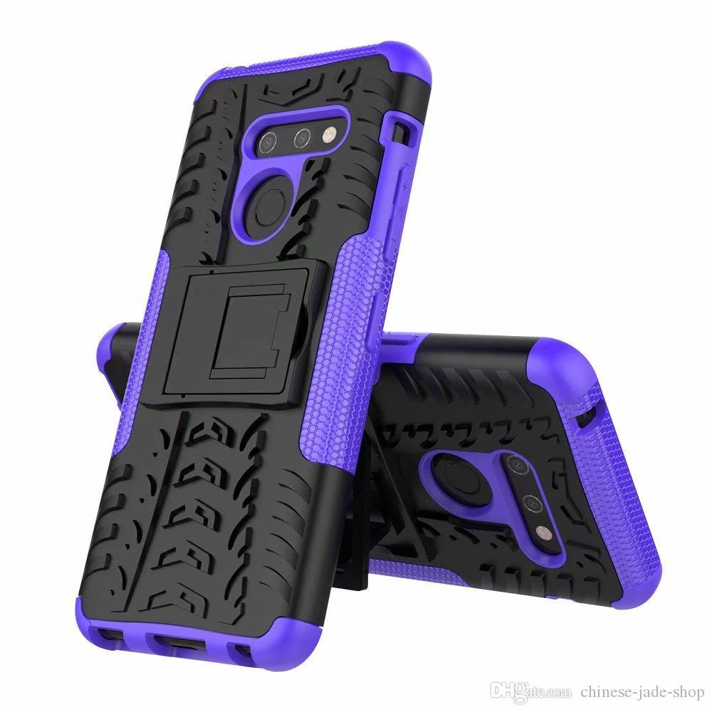 Dazze Hybrid Kickstand Impactante Impacto Heavy Duty Duty Tpu + Pc Choque Prova Capa Capa Para LG G8 G8X V50S K30 2019 V40 V50 K40 Styo 5 50 pcs / lt
