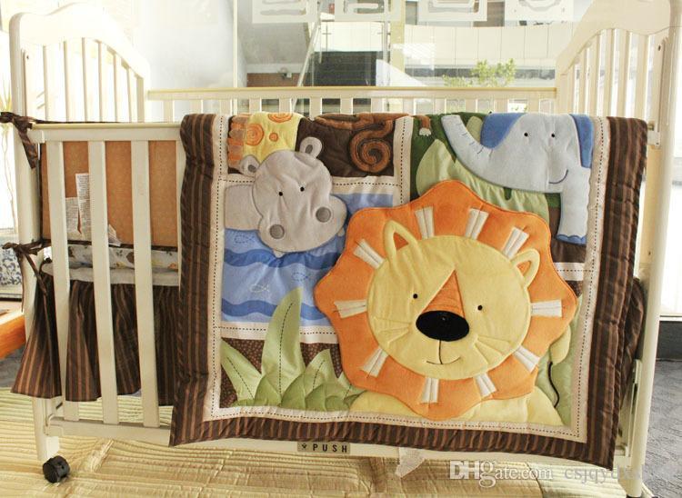 Promotion Baby bedding set 7Pcs Cotton Cot Bumper set for boy baby Crib bedding set Embroidery 3D elephant lion A hippopotamus Quilt bumper