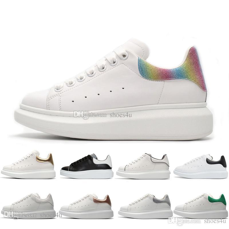 Zapatos de diseño zapatillas de deporte de cuero de lujo para hombres mujeres zapatos de plataforma blancos reflectantes 3M de alta calidad que aumentan la altura para caminar
