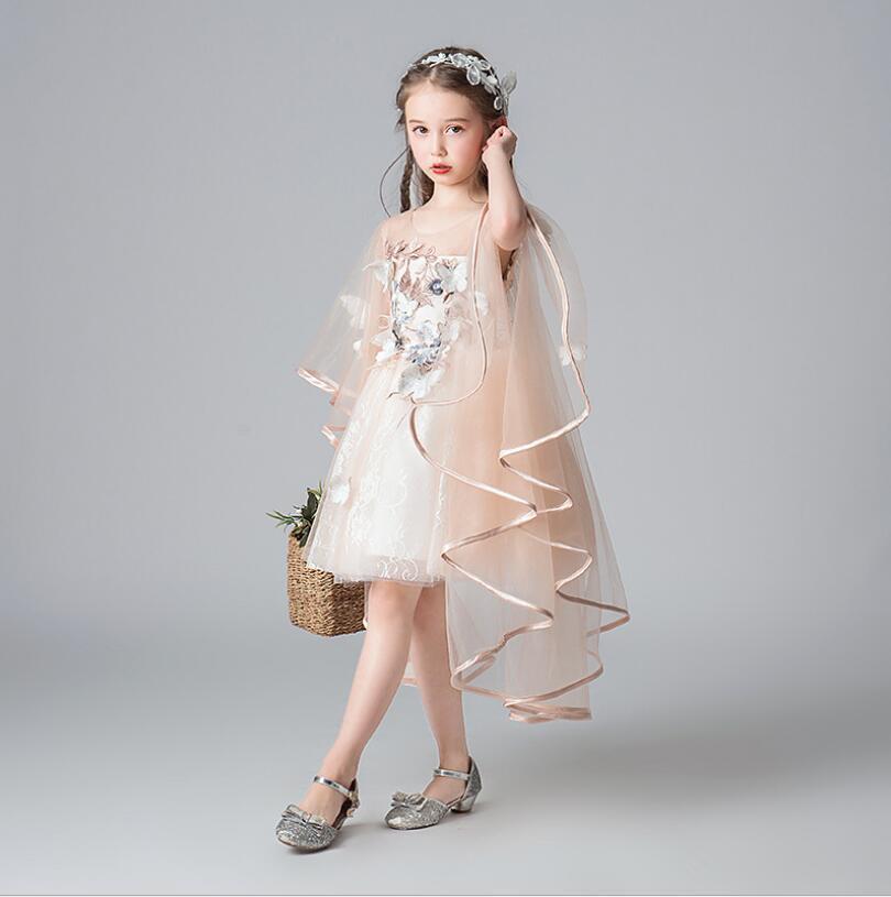 Элегантный Цветок Партии Платье Принцессы Шампанское Свадебное Платье Для Девочек Костюм Невесты Рождественское Платье Первое Причастие Vestidos T200417