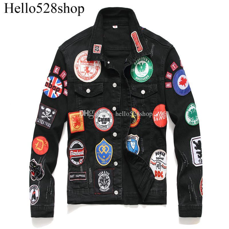 Hello528shop Fshion Motosiklet Stil Siyah Nakış Çok rozeti Erkekler için Denim Kot ve Yelekler Yaka Boyun Giyim