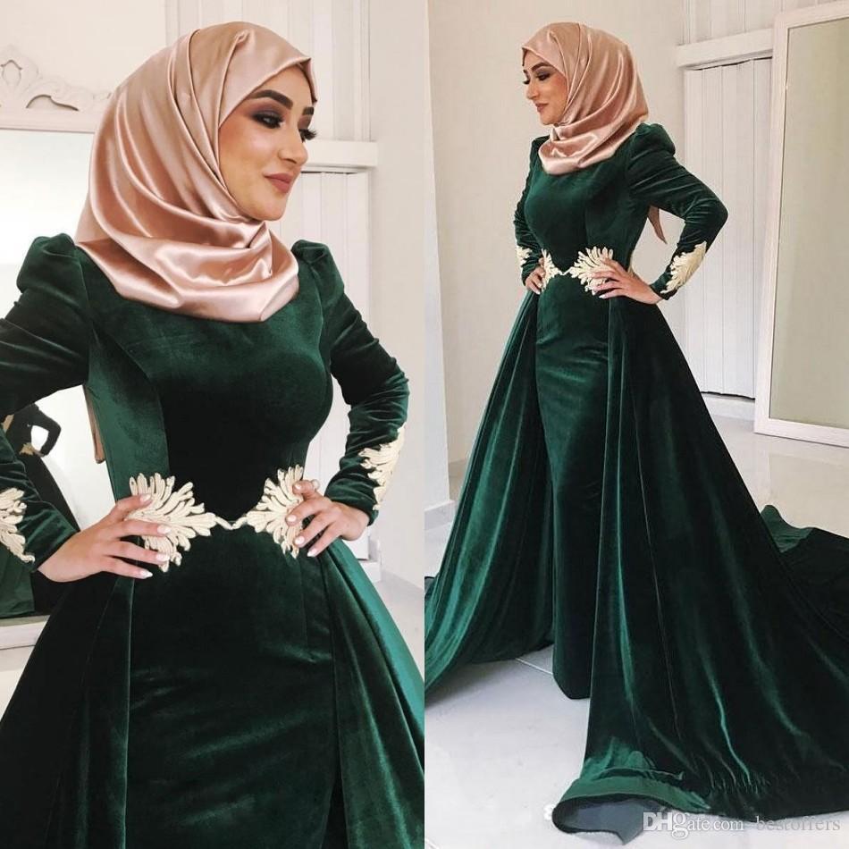 濃い緑のベルベットのイスラム教徒のウエディングのドレスハイネックアップリケのプラスサイズのイブニングガウン長袖ハイハブカフランドバイオーバースカートフォーマルドレス