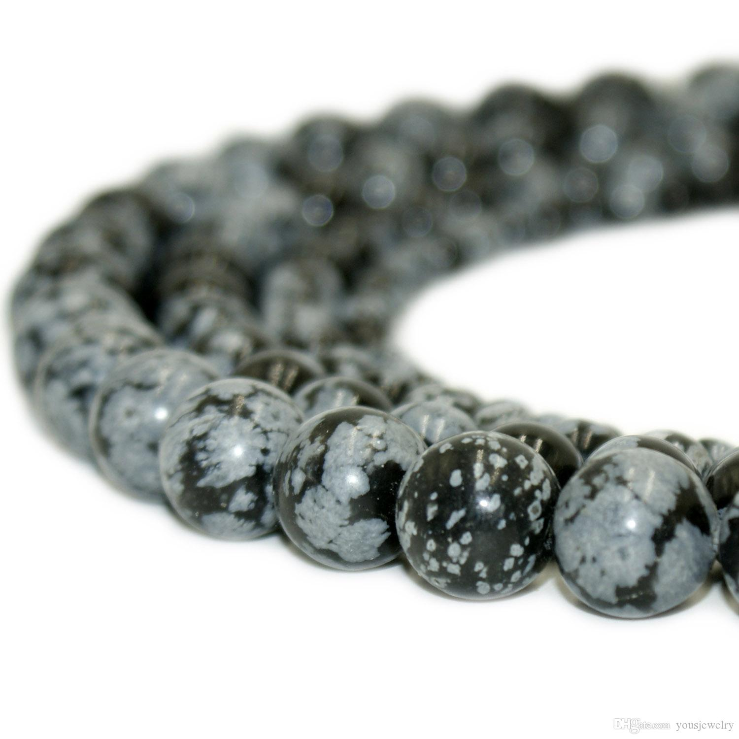 4ee2c94b24 2019 Natural Stone Snowflake Obsidian Beads Round Gemstone Loose Beads For  DIY Bracelet Jewelry Making 1 Strand 15 Inches 4 10 From Yousjewelry, $5.41  ...