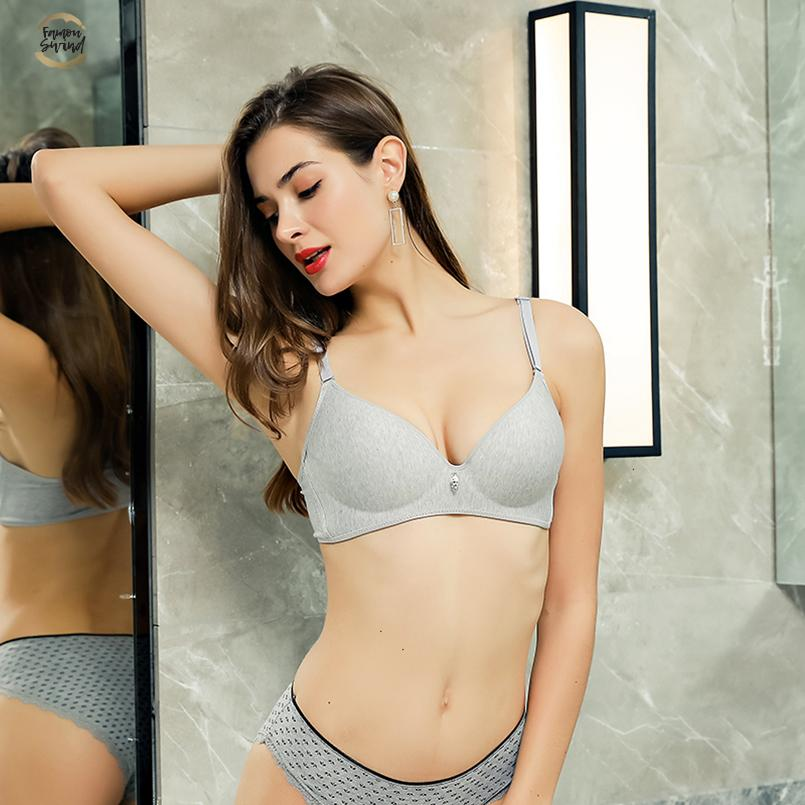 Moda de algodão sem fio Bra Para Mulheres Sexy Bralette 3/4 Copa Seamless Bras Underwear Comfort Brassiere Feminino fio gratuito B Copa do New