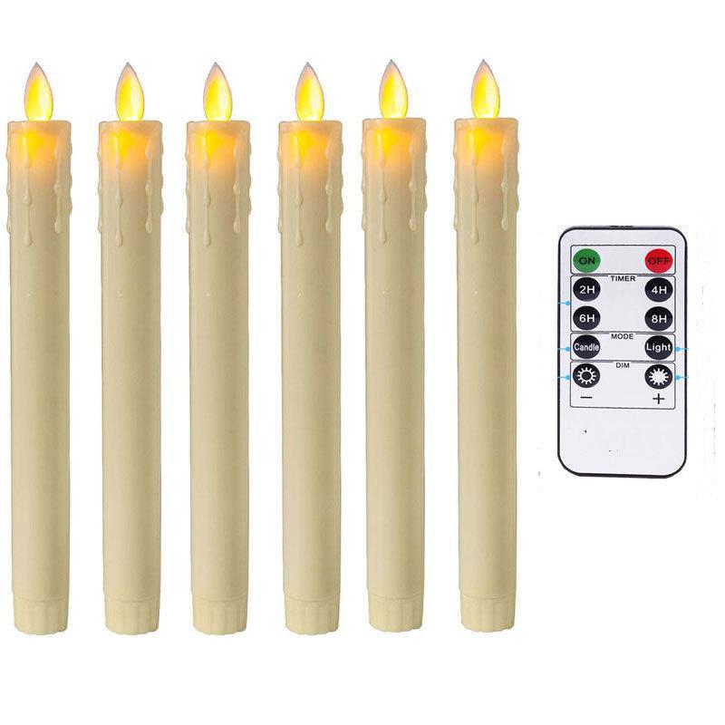 Remote и таймер, пакет из 6 Amber Танцы Led беспламенной свечи, красный пластик Аккумулятор Свечи Moving Wick конусности Рождество Свечи Y200109