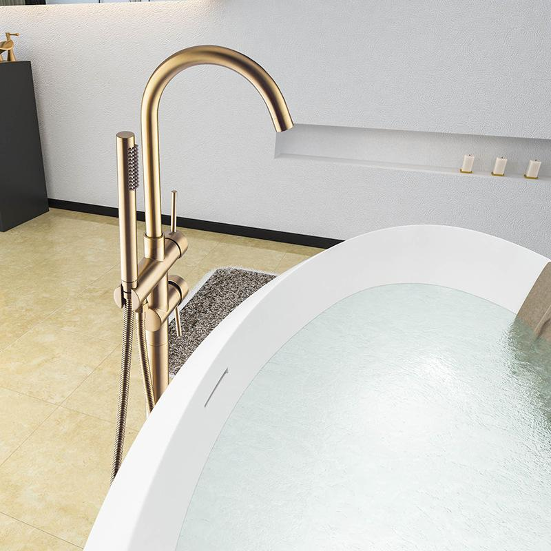 Black Brushed Gold FreeStand Bathtub Faucet Polished Gold Chrome Bathroom Faucet