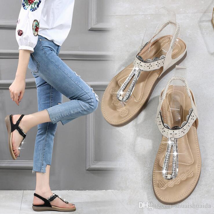 2019 Ladies fashion casual shoes Summer Sandals Slipper Beach shoes Black/Beige Women shoes Work/home Flat Heel Beef tendon sole A6616-8A