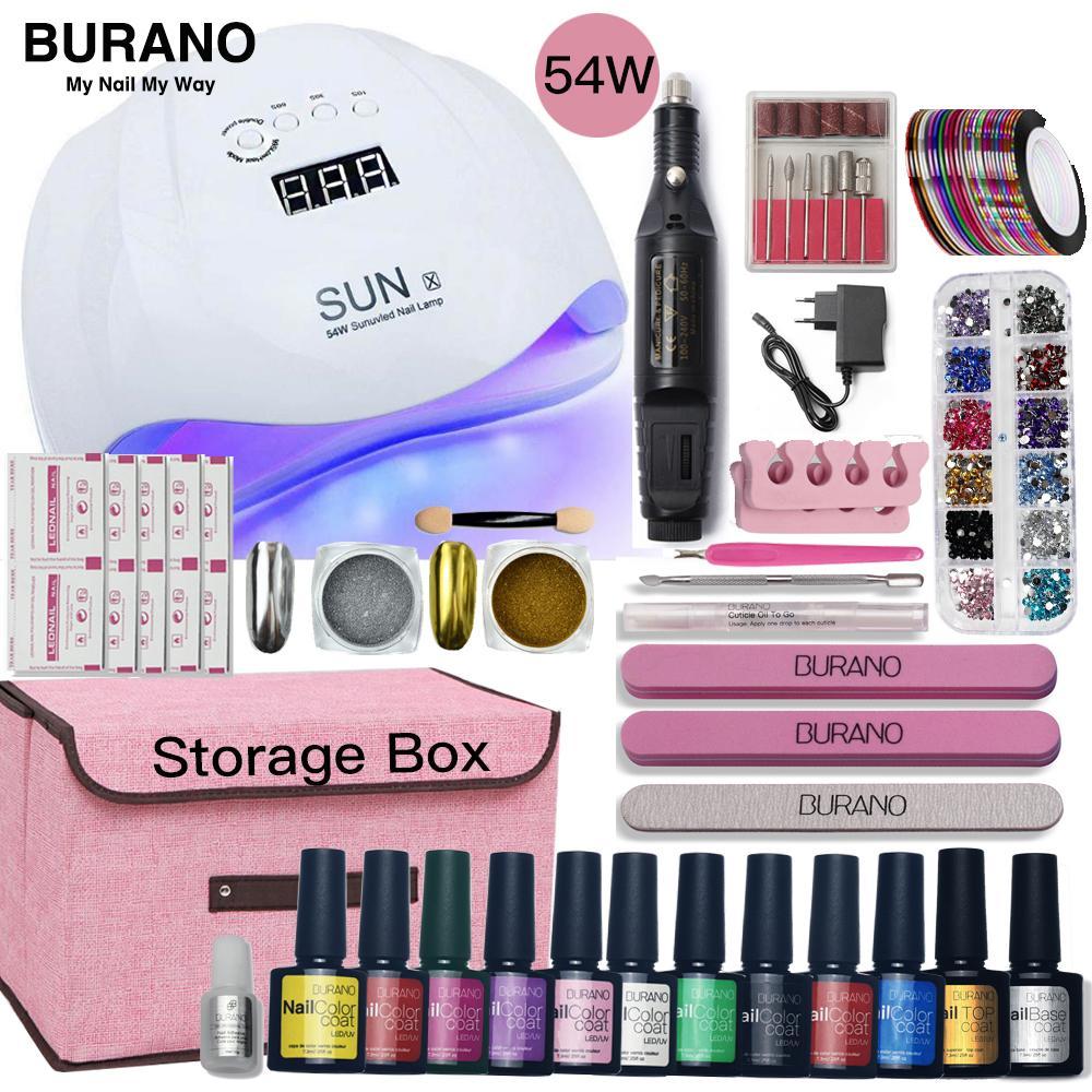 Nail Set LED lampe SECHE Boîte de rangement Ongles Gel outils de manucure Kit Polish Set Gel Polish Kit pour les outils d'art
