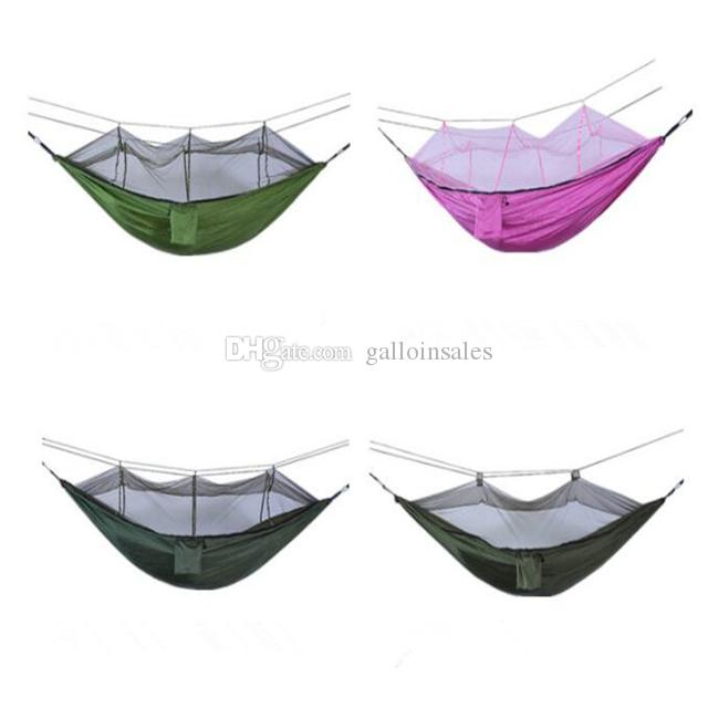 Wholesale-Portable High Strength Parachute Fabric Hammock Hanging Bed With Mosquito Net For Outdoor Camping Travel CH00