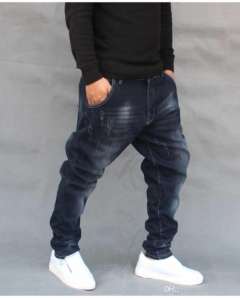 Hip Hop Harem Jeans para hombre Pantalones de chándal Jeans de algodón Elástico Pantalones de mezclilla sueltos Diseñador Azul oscuro Jeans de hombre 28-42