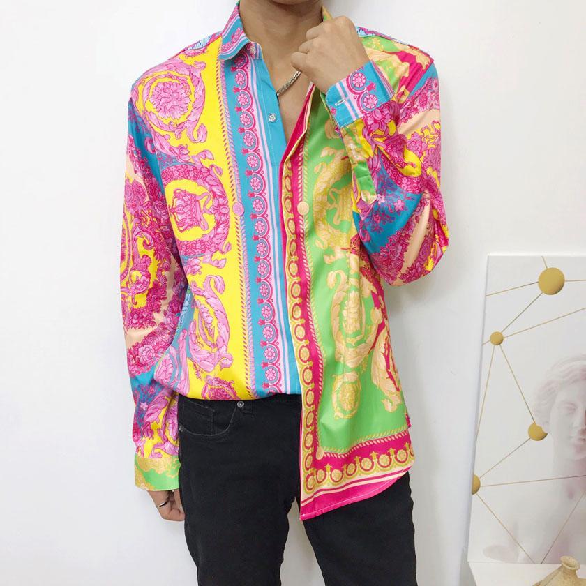 2020 Moda delgado apto de las camisas de los hombres de la medusa camisas Negro floral del oro impresión de vestir para hombre camisas de manga larga de los hombres de negocios ocasional de la camisa M-2XL