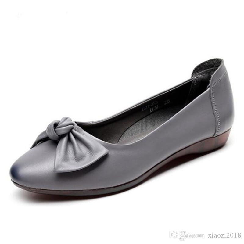 Soft Shoes PU leather Flat sole Moccasin bow Slip on Women Ladies Fashionable