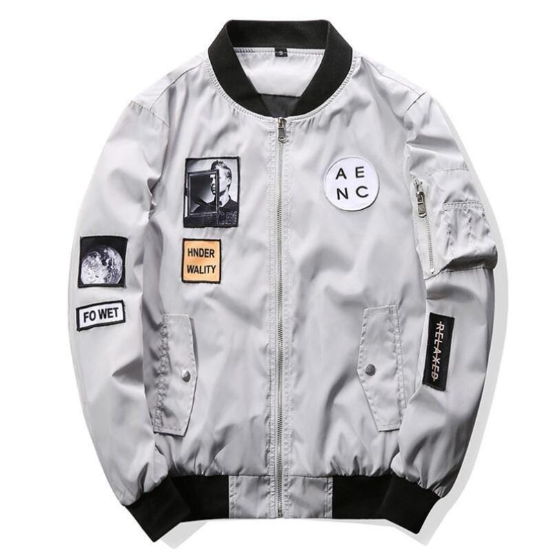 Asstseries 2018 nuevos hombres chaqueta de bombardero de Hip Hop Patch diseños Slim Fit piloto de bombardero capa de la chaqueta de los hombres chaquetas más tamaño 4XL