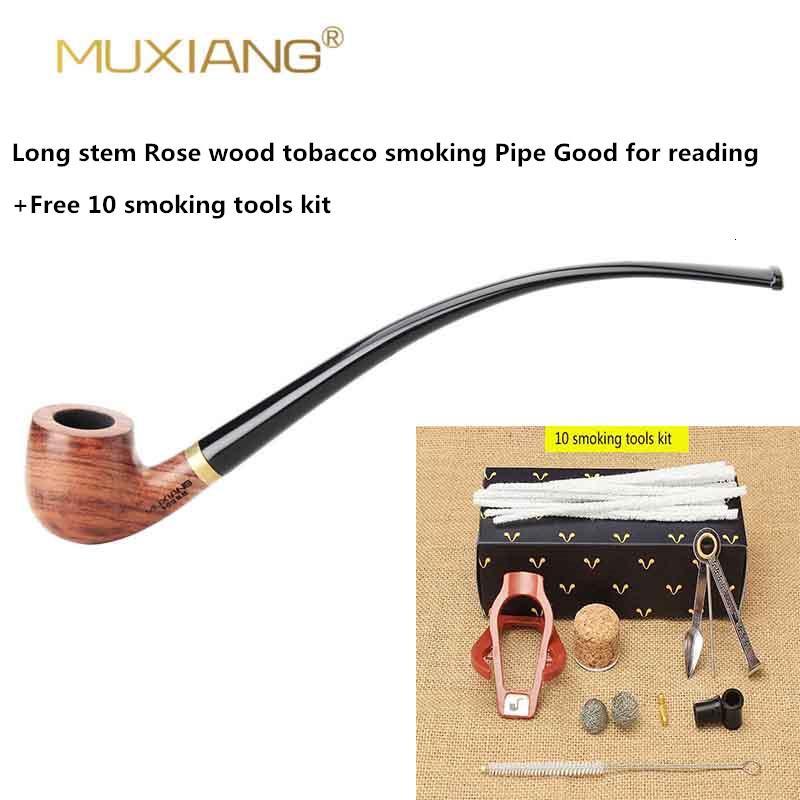 MUXIANG Churchwarden Long Stem kevazingo wood Smoking Pipe 3mm Filter Wooden Tobacco Pipe Acrylic Mouthpiece ad0008 SH190926