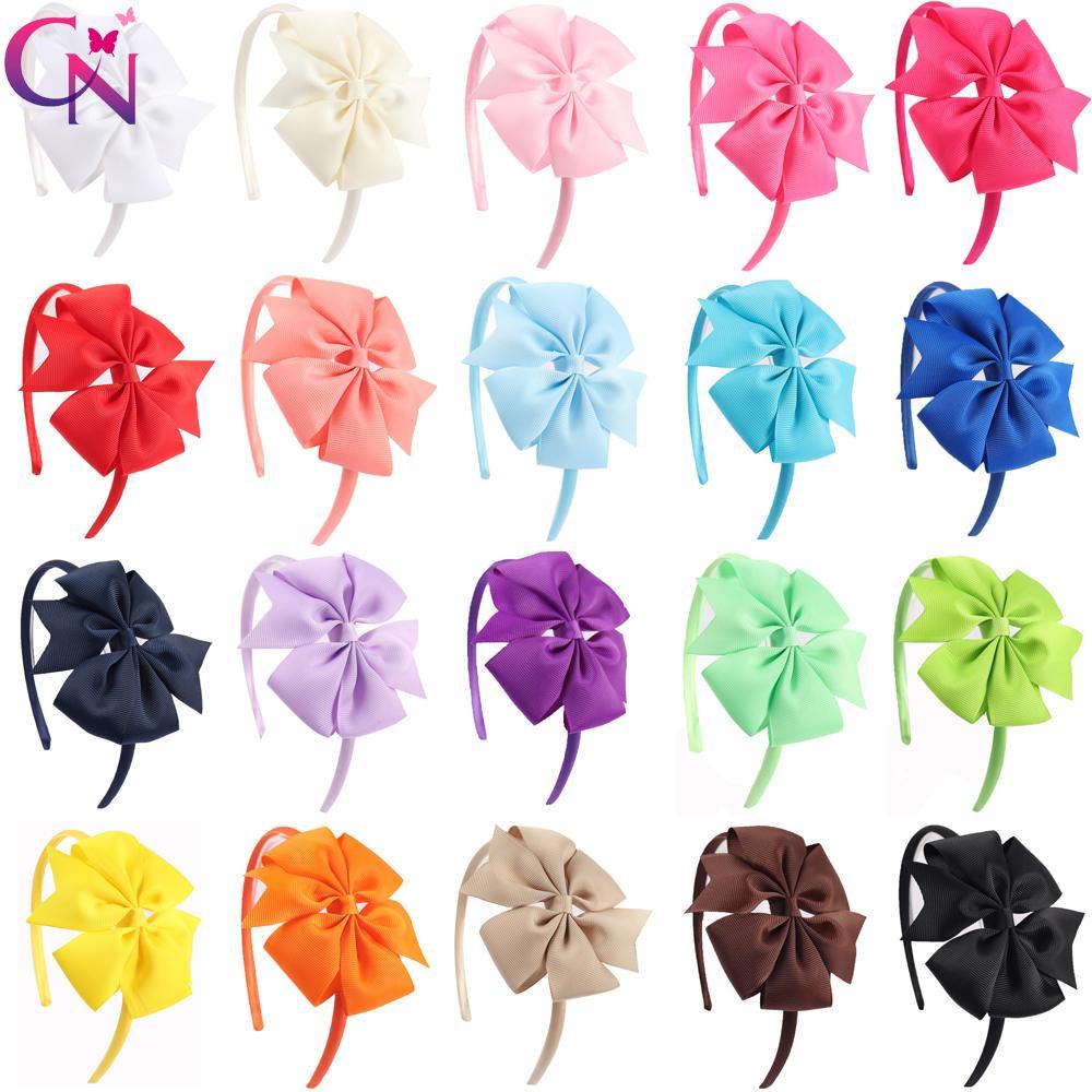 20 pezzi / lottp archi pinwheel hairbands per le ragazze bambini fatti a mano pianura rigida di raso fasce con nastro per capelli archi accessori per capelli j190507