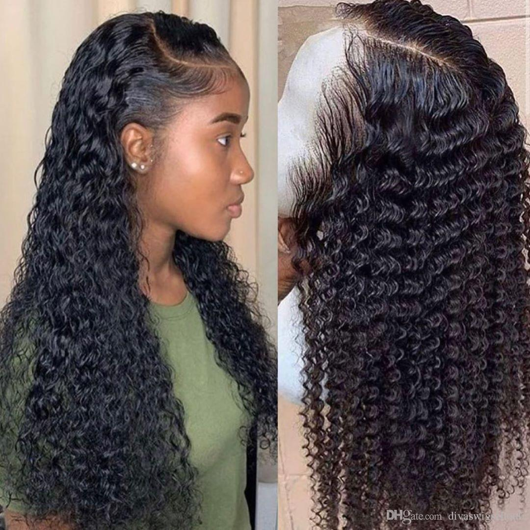Curly water wave lace front brazilian hair wigs pre plucked human hair 360 frontal wig for black women 130%