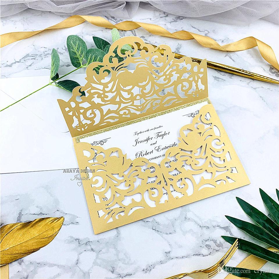 Classic Gold Laser Cut Invitations de mariage avec enveloppe de style, mariage / affaires Personnel / Party / Birthday Invitations, Livraison gratuite