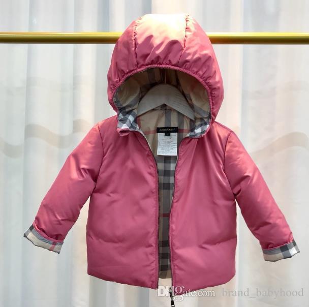 1-6 yıl Yeni Çift ceket palto Çocuk giysileri aşağı Plaid aşağı aşınma Erkekler Kızlar Bebek Aşağı ceket kapüşonlu Duck taraflı