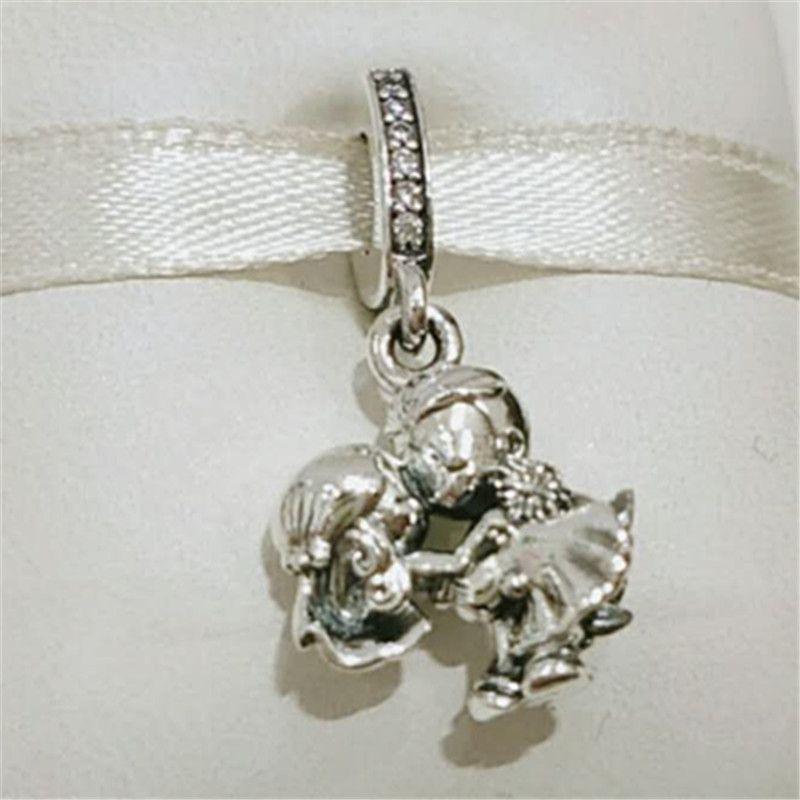 Dia da mãe de 2020 925 Prata Esterlina casado casal Charm bead pendurada estilo Pandora Colar de pulseiras de Jóias
