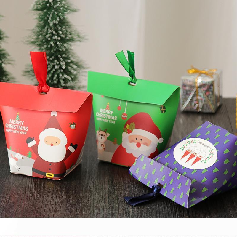 B Noel Hediyesi Kutusu Elma Hediye Kutusu Noel Dekorasyon Home For Noel Baba Desen Deri İp Şeker Kağıt Çanta
