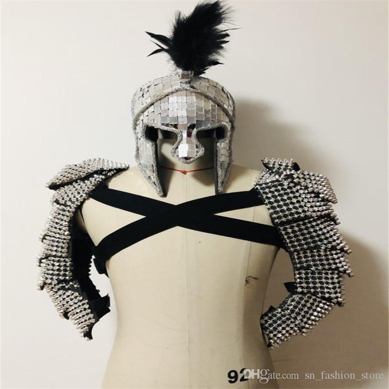 P71 Party armor suit dj robot men suit stage performance mirror outfits ballroom dance costumes helmet dress feather clothes dj party clothe