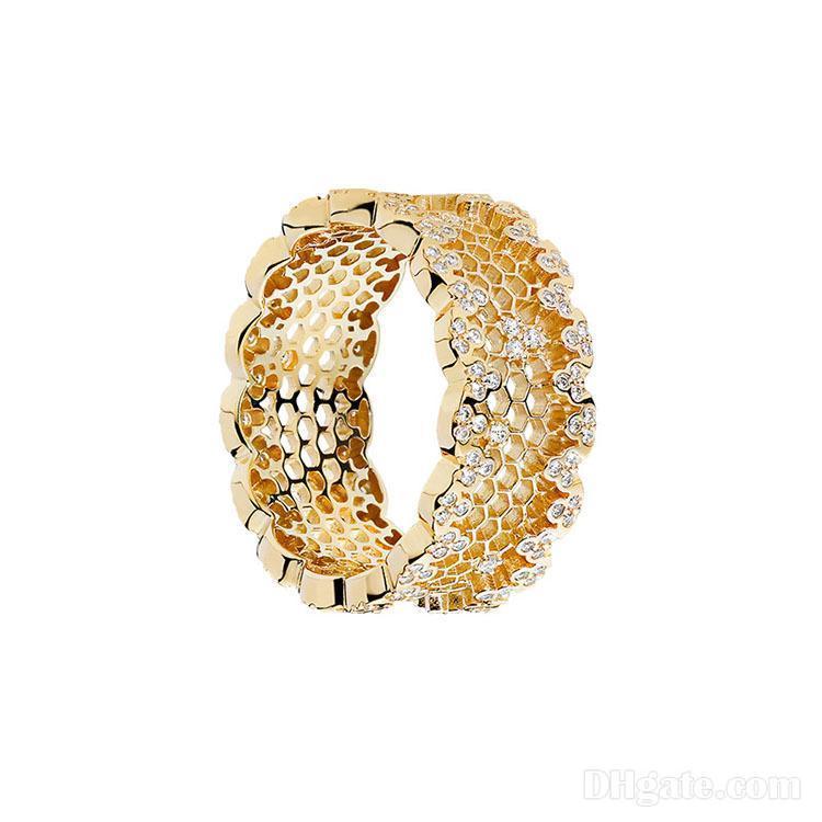 Anneaux 18K Yellow Gold Femmes Mariage CZ Diamond Bague Boîte d'origine pour Pandora 925 Sterling Silver Bealch Bealck Bagues Ensemble
