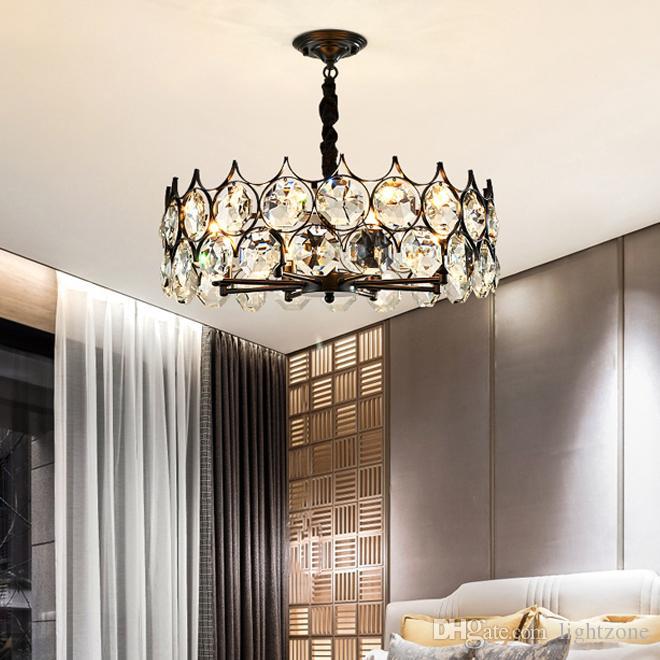 التصميم الجديد المعاصر الثريا الكريستالية السوداء الفاخرة الإضاءة قاد مصباح الثريا الأمريكية المبدع لغرفة المعيشة