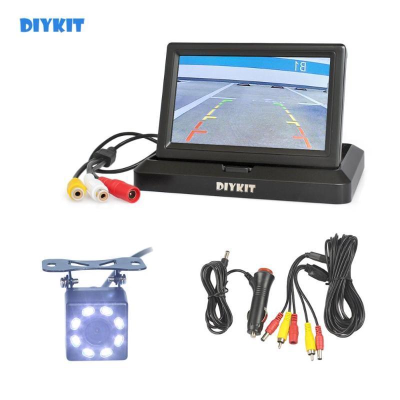 "DIYKIT 5"" Backup Car Monitor LCD Display Reversing Car LED Camera Color Night Vision Rear View Mirror HD Camera Kit Security"
