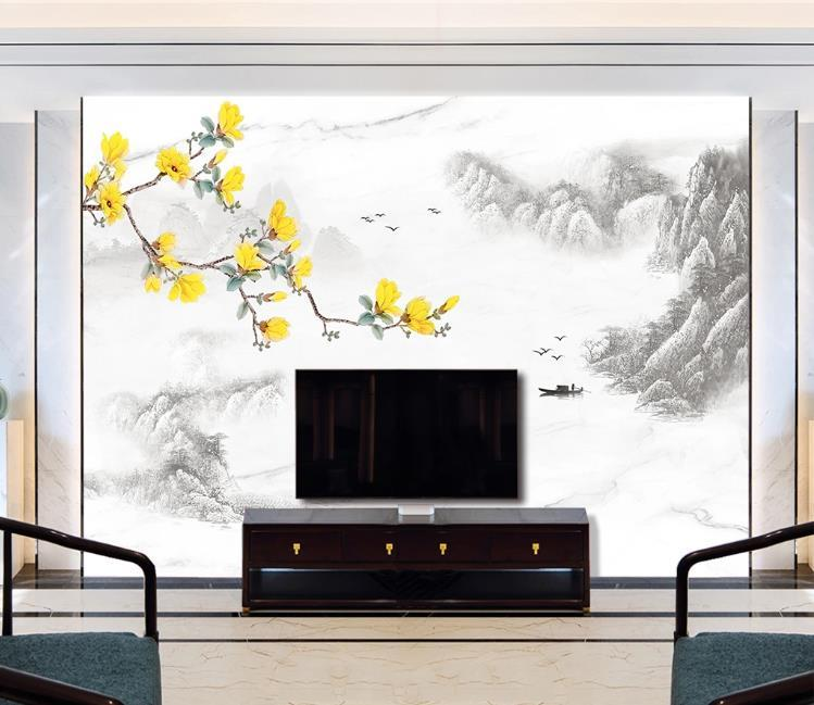 Costumbre fondo de pantalla nuevo chino artística concepción de mármol paisaje Magnolia sofá de la sala de la pared de fondo de TV decoración mural del papel pintado 3D