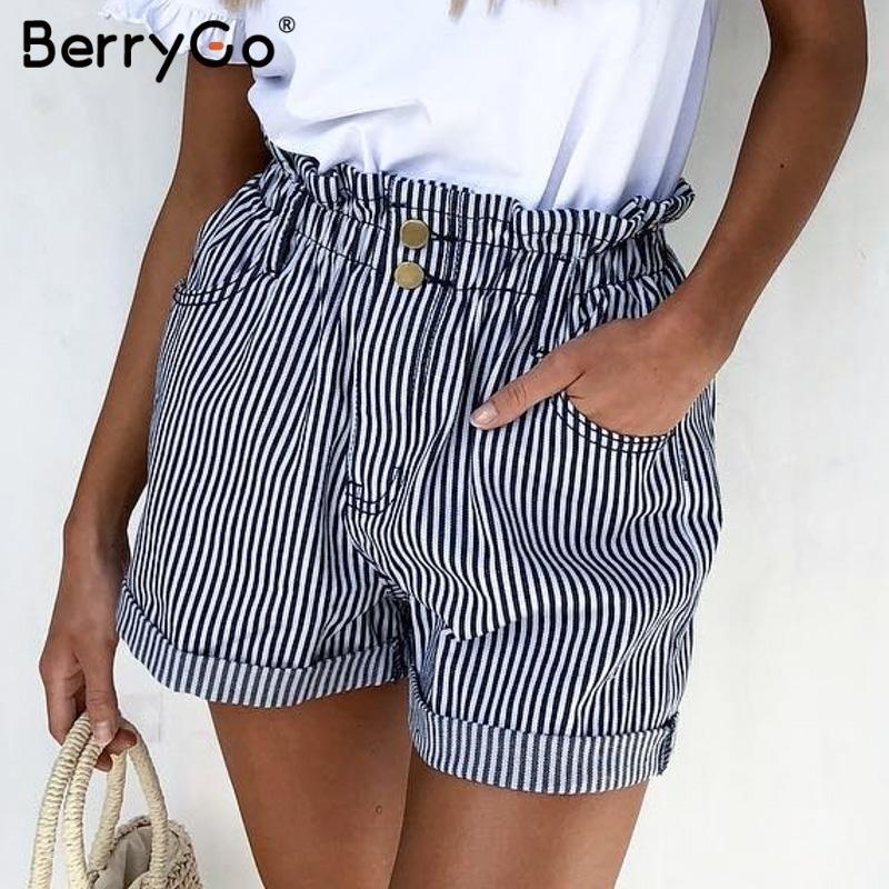 Berrygo Stripe Women Shorts Elastic Wasit Buttoms Button Zipper Ladies Shorts Casual Streetwear Female Summer Shorts 2019 Y19071801