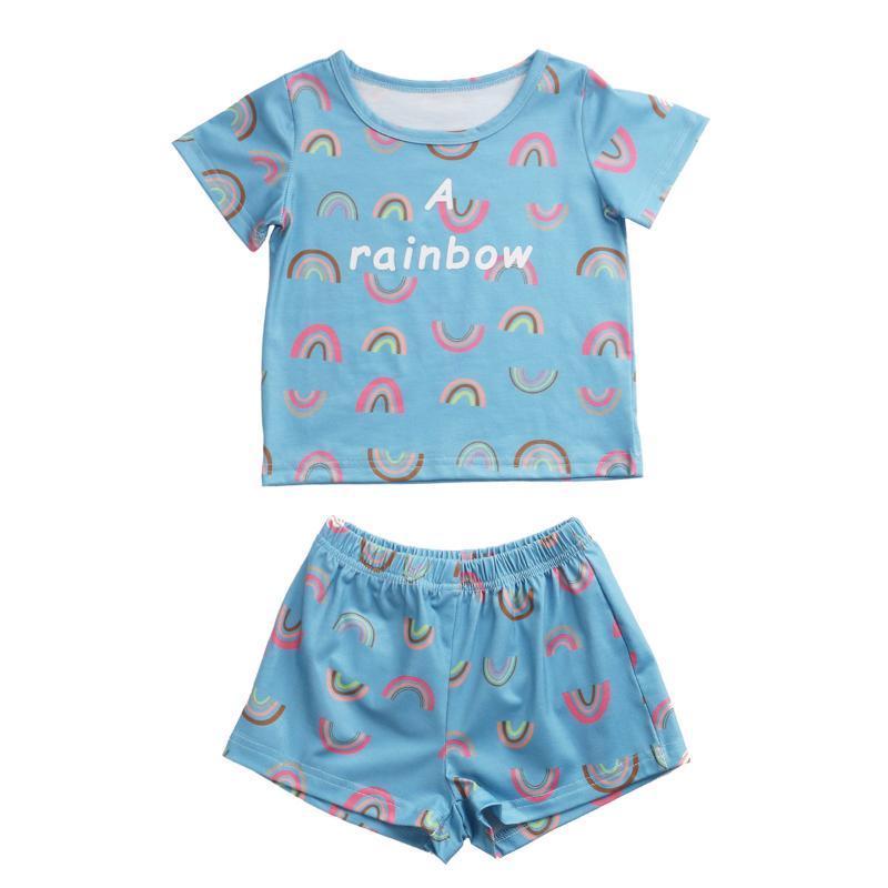 6M-6Y verano bebés de los muchachos pijamas Set del arco iris impresión de manga corta Top + elástico de la cintura pone en cortocircuito la ropa de noche de los niños Nightcloth algodón