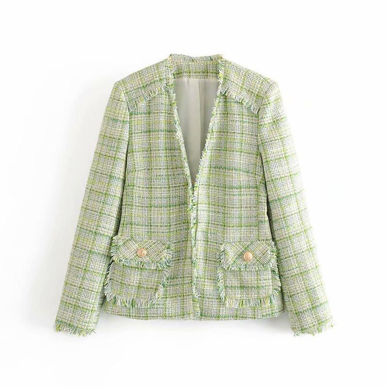 Desgaste de la oficina Forme a mujeres Escudo de manga larga de la vendimia raído recorta Tweed Blazer Bolsillos Mujer Prendas de abrigo Chic Tops