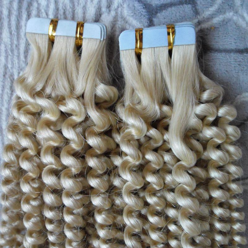 Лента в наращивание волос 100% человеческих волос #613 цвет 100 г 16 до 24 дюймов Реми бразильский афро кудрявый свободные вьющиеся ленты в человеческих волосах 40 шт.