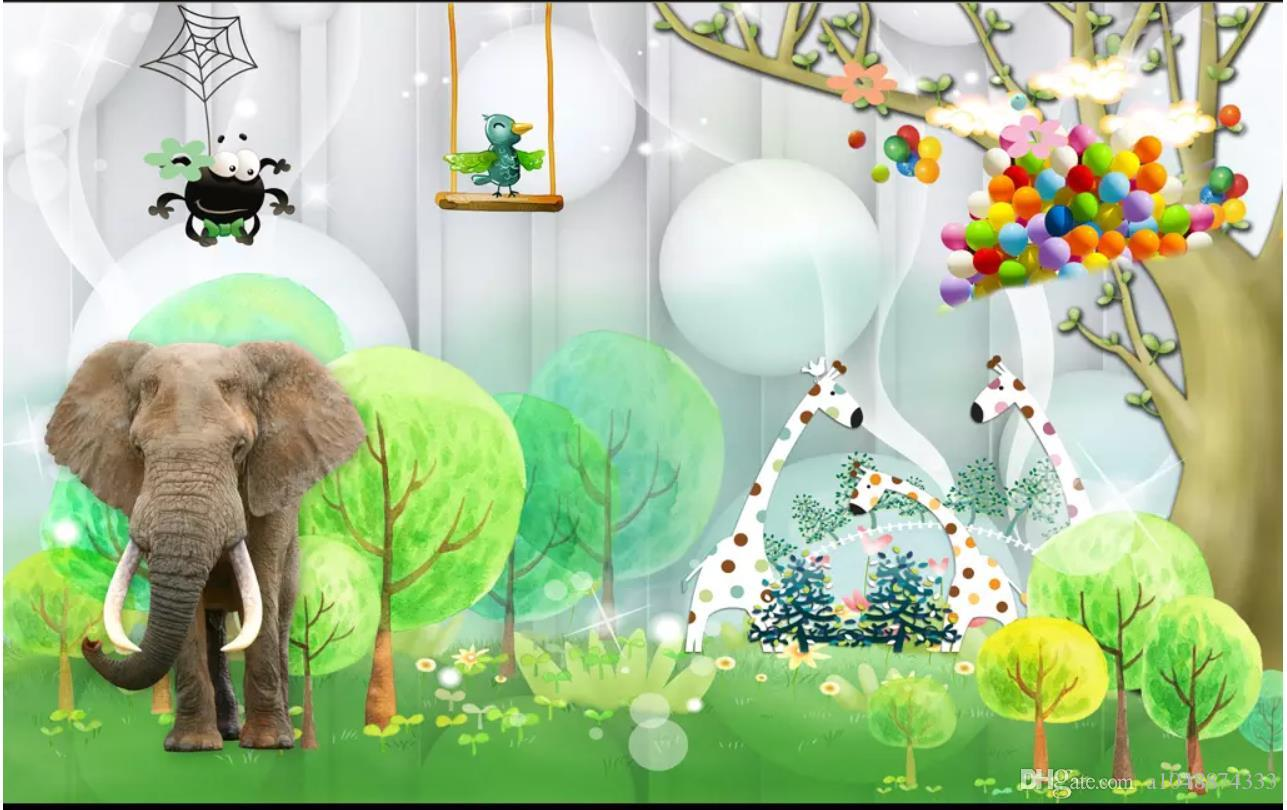 3D Wall Murals Wallpaper Custom Picture Mural Wall Paper 3d Elephant Beautiful Scenery Childrens Room Kids Room Fresh Background Wall Free High Res