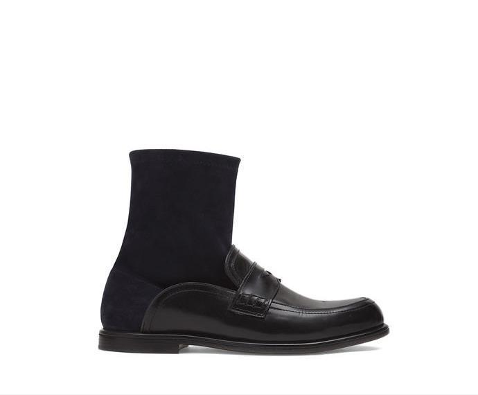 Sock Boot Black New British Elastic Shoes with Flat Bottom of Female Round Head Sleeve Cowhide socks and boots woman