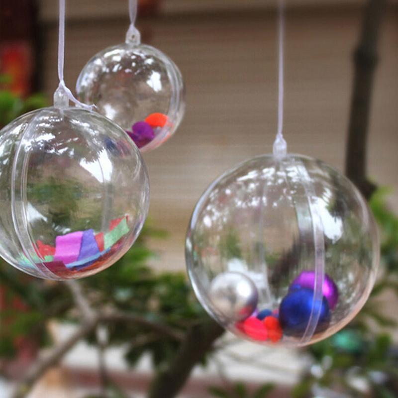 Şeffaf Plastik Zanaat Noel Hediye Kutuları Şeffaf Plastik Top Yılbaşı Ağacı Dekoru Asılı Süsleme 4-8 CM Top Tipi Kutusu