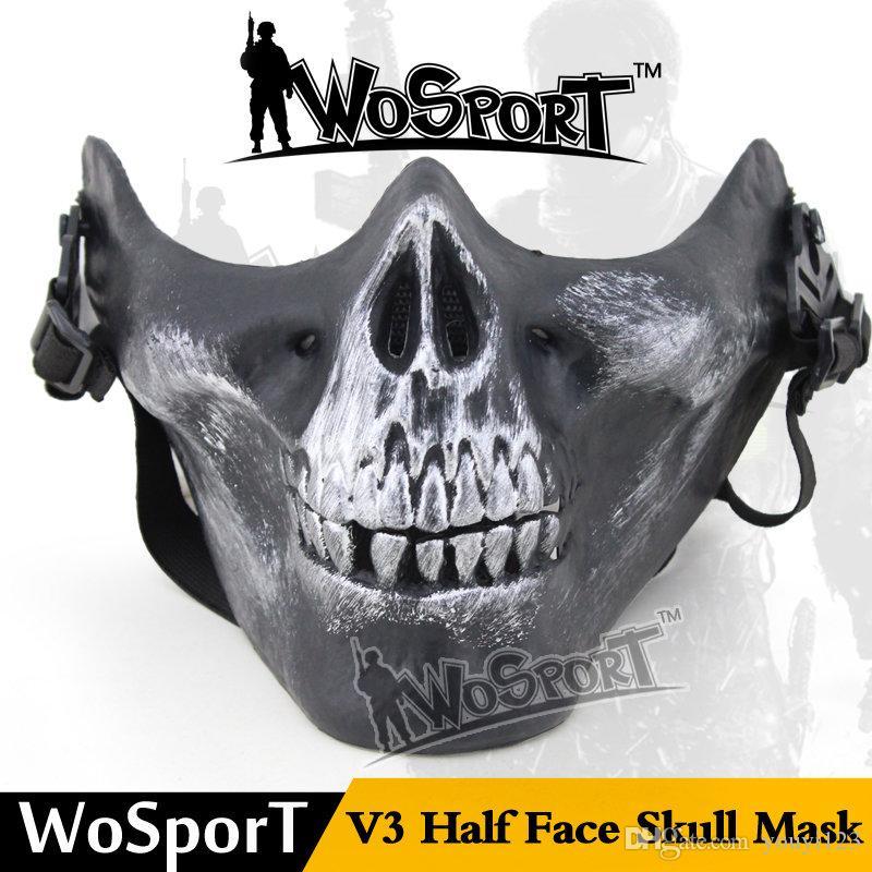 CS Outdoor domaine live-action créative DIY chef M03 Crâne demi-masque facial de protection, 6 types de masques