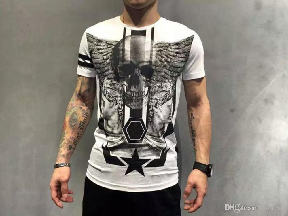 SS MENS DESIGNER T SHIRTS Camisetas de manga corta Hombres Marca Ropa Moda Rhinestone Skull Man Camiseta Masculina de alta calidad de algodón Top Tops