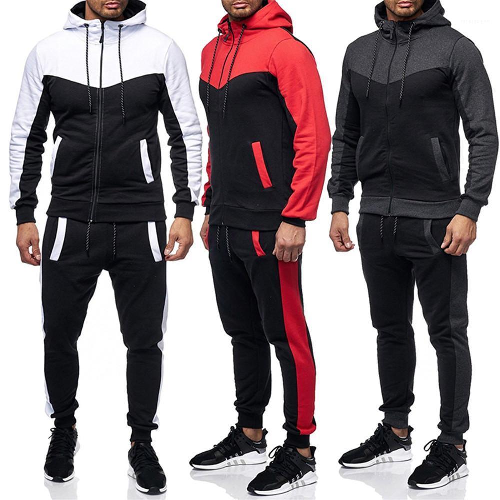 Mens Casual Slim Fit Спортивная одежда Рубашки Поло Дизайнерские Мужские костюмы Zipper Толстовки Брюки Два кусочка Наборы